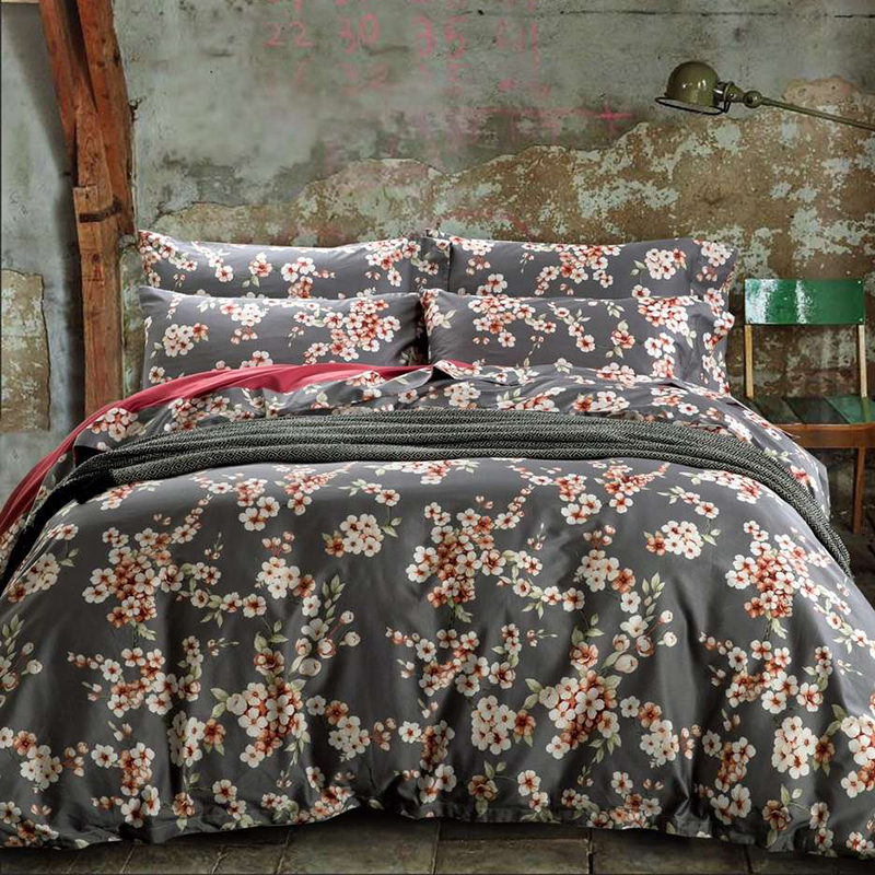 Colourful soft comfortable home Cotton Printed flowers Bedding Set Reacive printing bedding set 4 pcs Queen /King sizeMG(China (Mainland))