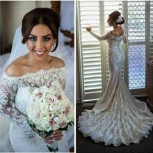 Vestido de noiva sereia New 2016 Boat Neck Long Sleeves Court Train Pearls Lace Mermaid Wedding Dresses Bridal Gowns mariage(China (Mainland))