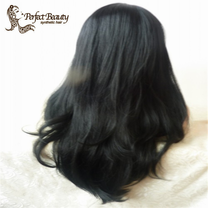 2015 Heat Resistant Brazilian Super Wave Wigs With Bangs Glueless Synthetic Lace Front Wigs For Frican American<br><br>Aliexpress