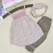 Baby Infant Clothes Floral Print Sling Shirt Lace Short Pants Scarf Suit 3PC