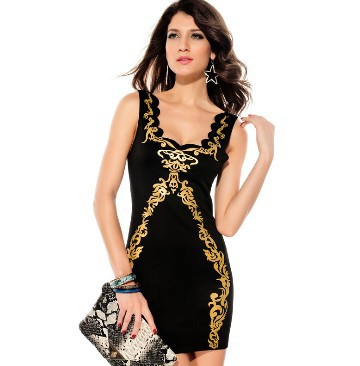 New Fashion Women Clubwear Dresses Sexy Sleeveless Dress for Ladies Gilt Embroidery Package Hip Apparel of robe femme 2015(China (Mainland))