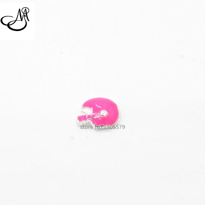 Pink enamel Football Helmet floating charms fit living floating locket MFC1404(China (Mainland))