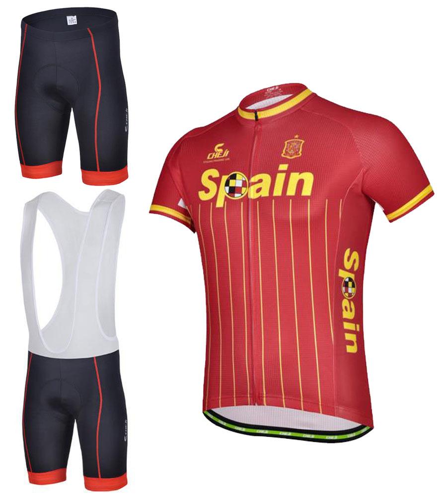 España equipo de bicicletas jerseys ropa de ciclo / racing ropa ciclismo / bicicleta ropa ropa ciclismo Jersey + BIB tamaño : xxs-6xl(China (Mainland))