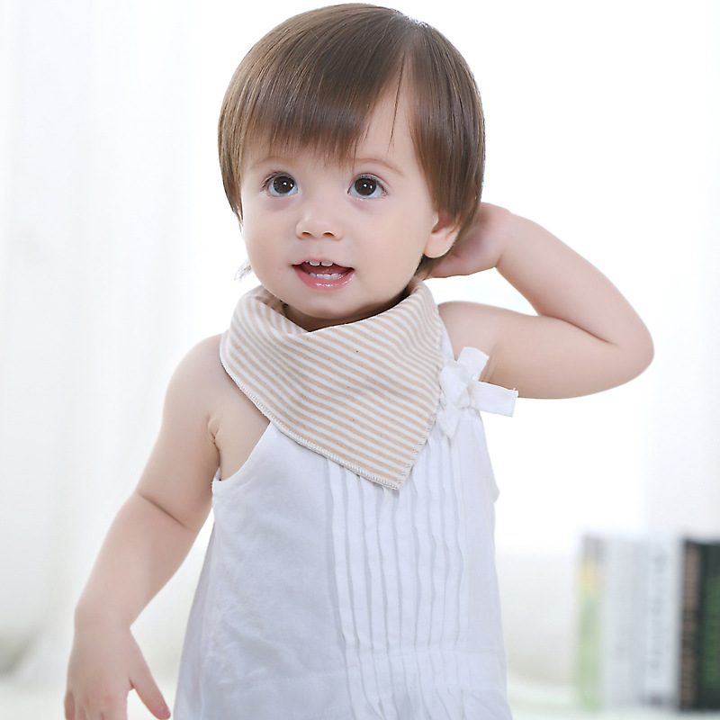 Baby Bibs High Quality Triangl Natural Organic Colored Cotton Baberos Stripe Baby Saliva Towels(China (Mainland))