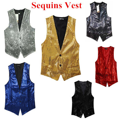 2015 New Fashion Leisure Men Vests suits slim Sequins gold red black White gray blue Dj stage(China (Mainland))
