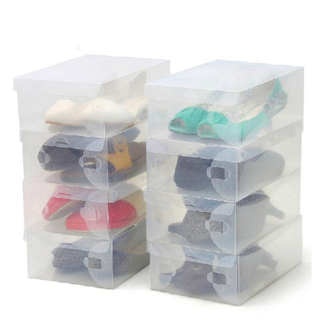 2016 new 10Pcs Transparent Clear Plastic Shoes Storage Boxes Foldable Shoes Case Holder(China (Mainland))