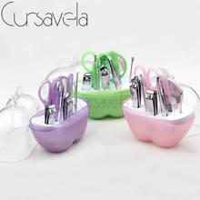 Cursavela Apple Nail Tool Set Beauty Art Manicure Kit Small Makeup Plastic Box With 9pcs Set Clipper Mirror Scissor Steel EC0114(China (Mainland))