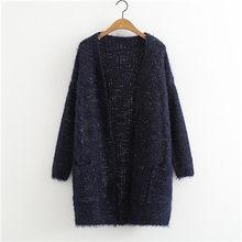 XIKOI ארוך קרדיגן נשים ארוך שרוול סרוג סוודר סוודרים סתיו חורף פתוח תפר נשים סוודרים ג 'רזי Mujer Invierno(China)