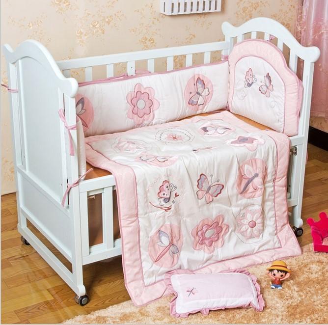 Discount! 6PCS embroidery baby bedding set Hot crib bed linen cot Bedding set,include (bumper+duvet+pillow)<br><br>Aliexpress