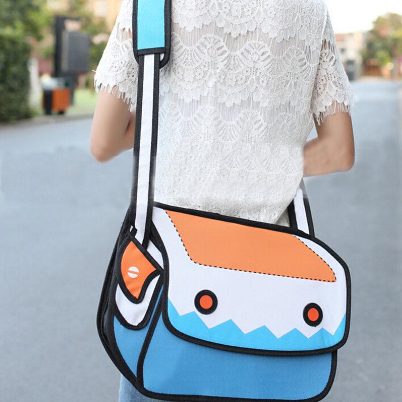 2015 New Fashion 3d 2d Cartoon Bag Novelty Messenger Bag 2D Drawing Lady Shoulder Bag(China (Mainland))