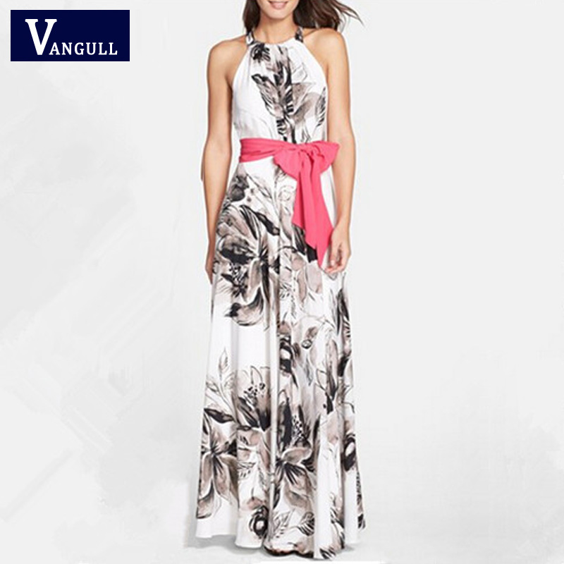 2016 Summer Style Vintage Floral Print Halter A-Line Pleated Beach Maxi Long Swing Sexy Design Dress With Belt(China (Mainland))