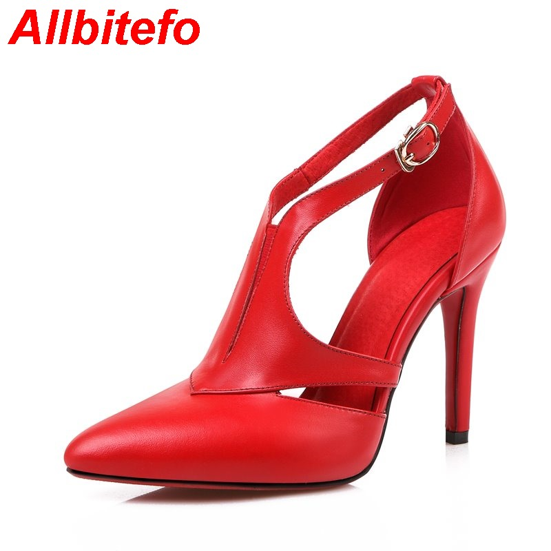 Full gneuine leather pointed toe cut-outs platform high heels women pumps 2016 New spring red bottom party shoes wedding shoes