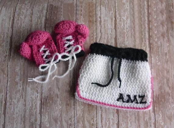 Lovely-handmade-crochet-Baby-girls-Boxing-gloves-and-Short ...