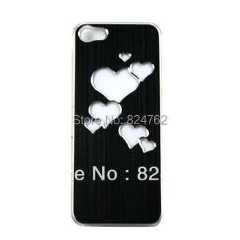 DropShipping Black  Heart Brushed Skin Sense LED Flash Light Hard Back Case Cover For iPhone 5 5G DC1072B Free shipping