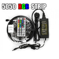Waterproof 5050 RGB LED Strip 5M 300 Led SMD 44 Keys IR Remote Controller 12V 5A Power Adapter Flexible Light Free Shipping