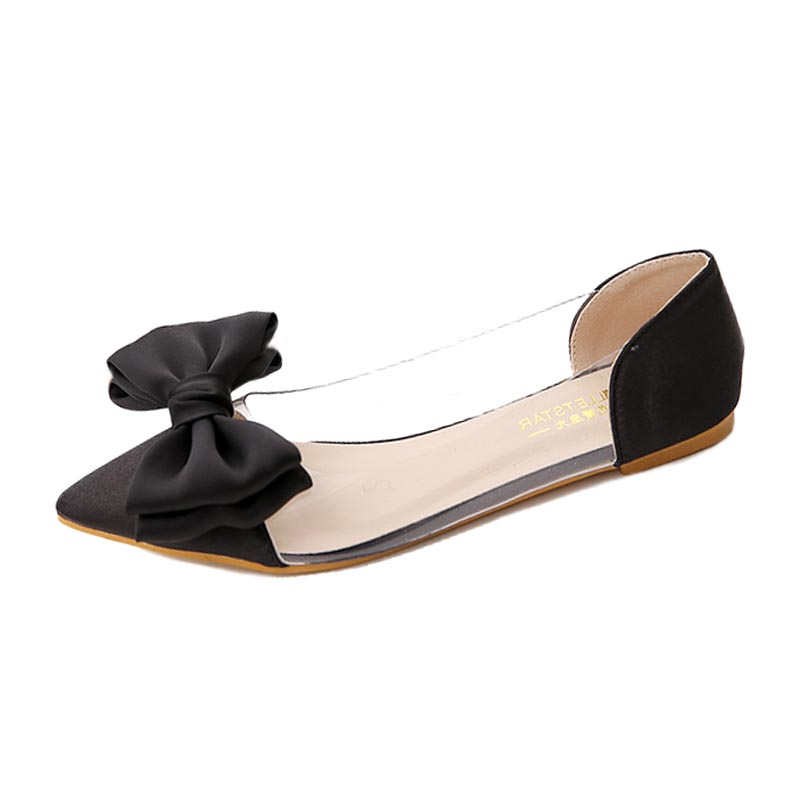 New Fashion Bow Pointed Toe Women Flats Elegant Satin Ballet Flats For Women Ladies Party Wedding Shoes Size 35-39 Shoes Woman(China (Mainland))