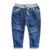 Boys jeans 2016 spring new children's clothes baby jeans kids leisure trousers children lace-up pants