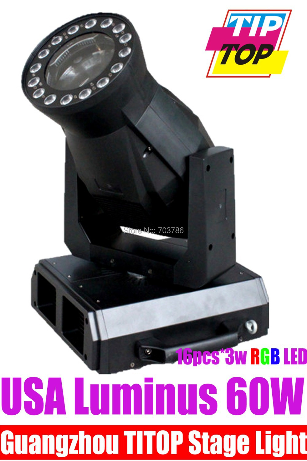 Special Design 60W Led Moving Head Beam With 16pcs*3W Tricolor Led Moving Head Spot 12/30DMX Channels 300W Power LCD Display(China (Mainland))