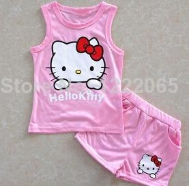 2014 Hot Summer girls suits Hello kitty KT Cat cartoon baby suit short sleeved T shirt
