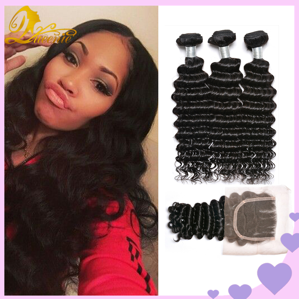 Fashion King Hair Deep Wave Bundles With Closure TOP 7a Wet And Wavy Virgin Brazilian Hair With Closure 4 Bundles And Closure <br><br>Aliexpress
