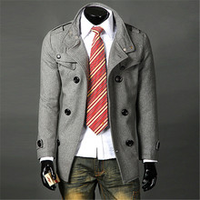 2015 New Winter Coat Of Cultivate One's Morality Long Men In England Double-breasted Steve Windbreaker Coat(China (Mainland))