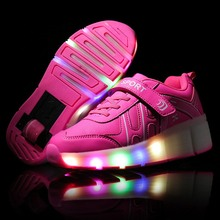 Super Star Kids Shoes with LED Lights Children Shoes Heelys with Wheels Kids Sneakers with Led Light Up for Boys Girls Blue Pink(China (Mainland))