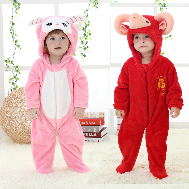 2015 Autumn baby winter romper Single Animal sheep model baby girl boy romper flannel baby onesie,romperH2152(China (Mainland))