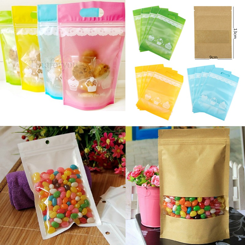 Wholesale 4pcs/bag Plastic Stand Up Pouch Bags Small Candy Cookies Package Bag Bakery Gift Packing Paper(China (Mainland))