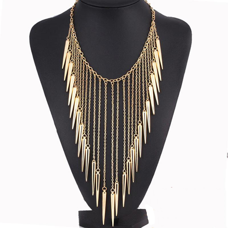 2016 New Collares Jewelry European Style Vintage Trench Fashion Necklaces Rivet Long Tassel Punk Accessories Women Free shipping(China (Mainland))