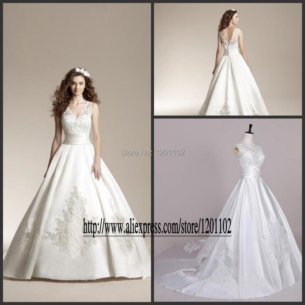 Vestido De Noiva 2016 Custom Made Embroidery V Neck Princess Wedding Dress Bridal Gowns Ivory
