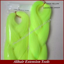 One Pack Free Shipping 24″ 80G NEON YELLOW Color Kanekalon Senegalese Twists Xpression Synthetic Jumbo Box Braiding Hair