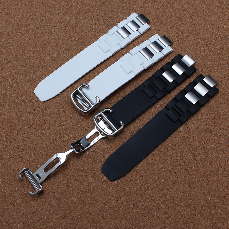New High quality Silicone Rubber Watchband White Black With Special Folding buckle Deployment 20mm steel 10mm for brand watch<br><br>Aliexpress