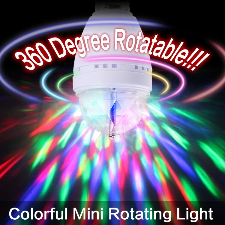 RGB 3W E27 Crystal Auto Rotating LED Bulb Full Color Mini Stage DJ Lamp Light EB3625(China (Mainland))