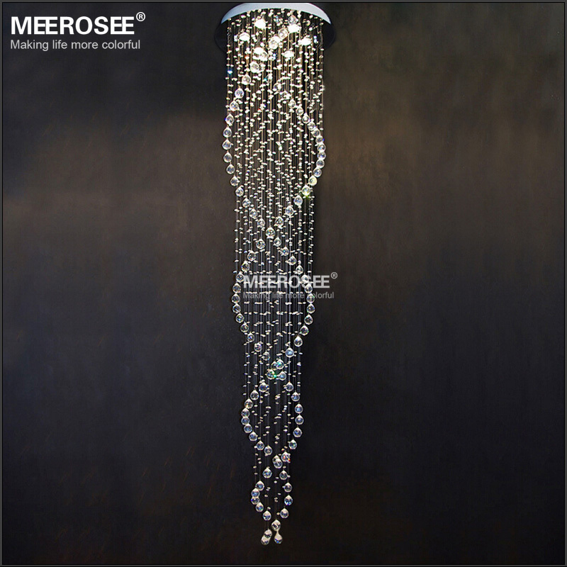 Spiral Crystal Chandelier Light Fixture Long Crystal Stair Lamp Flush Mounted Stair Light Fitting for staircase villa<br><br>Aliexpress