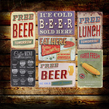 Cold Beer Wine Here Wall Metal Painting Retro Painting Tin Sign Bar Pub Home Wall Decor Metal Poster(China (Mainland))