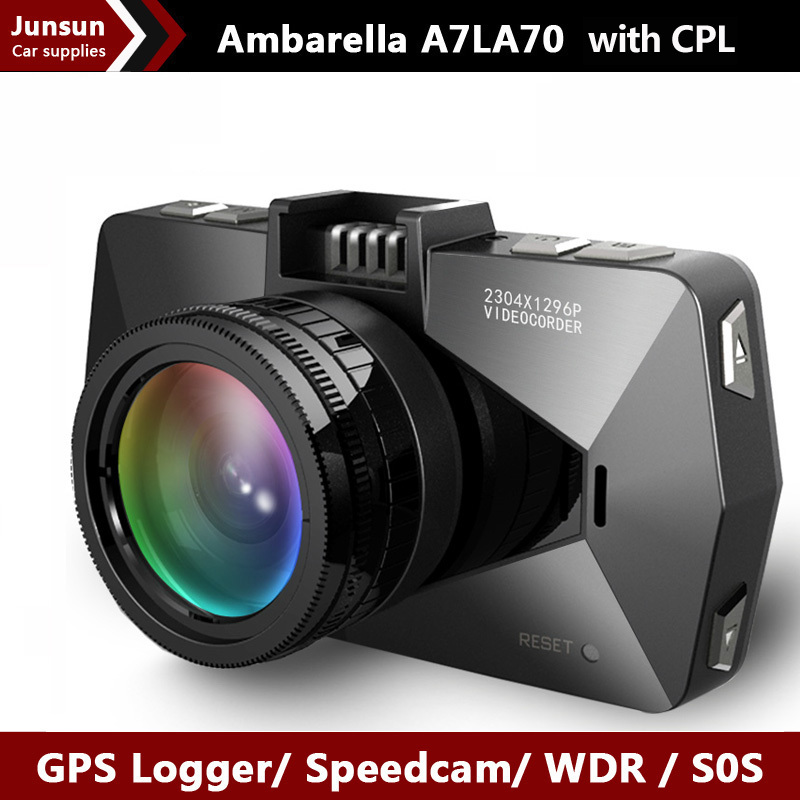 Best camera Ambarella A7 LA70 Car DVRS Video Recorder SpeedCam Full HD 1296P GPS Logger LDWS OV4689 with polarizing CPL Filter(China (Mainland))