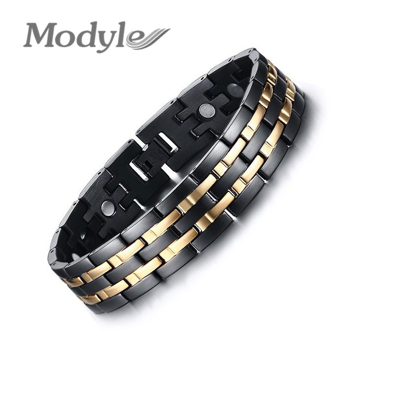 Modyle New Men Healthy Magnetic Bracelet 18K Gold Plated Energy Bracelets for Men Jewelry Chain Link Magnet Charm Bracelets(China (Mainland))