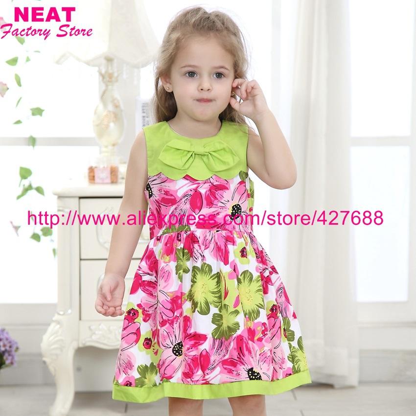 2015 new brand kids summer dress children baby girl flower t-shirt vestidos clothing princess wear tutu party wedding X3120 - NEAT Factory Store store