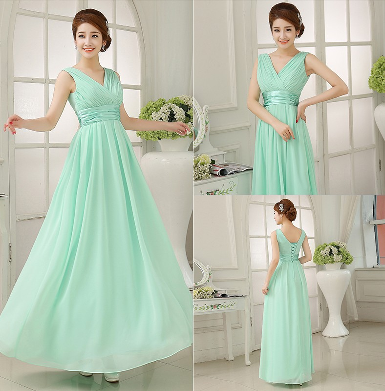 Strapless With Ruched Bodice A-line Floor Length Light Green Chiffon Long Lace Up Bridesmaid Dresses H0002 Promotion(China (Mainland))