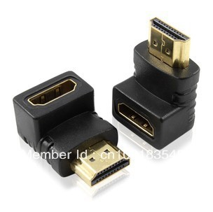 HDMI Male to Female 90 Degrees Gold Plated Elbow Connector Adapter HDMI Plug Elbow HDMI Plug 90 Degrees   ,Free shipping