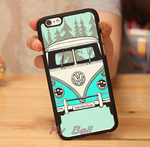 VW Mini Bus Vintage Volkswagen luxury brand hard skin cell phone cases cover housing for iphone 4s 5s 5c 6 6 plus case free gift(China (Mainland))
