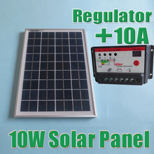 10W Solar Panels + 10A 12V 24V Solar Controller, 18V Solar cell panels charger 12V battery(China (Mainland))