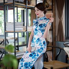 Nouveau Femmes Traditionnel Chinois Robe Bleu Imprimé floral Satin de Soie Longue Cheongsam QiPao Robes De Bal Robe