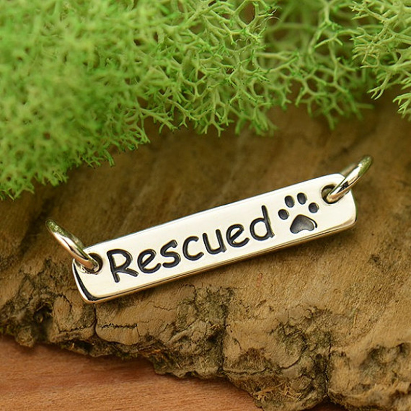 1pcs Dog Rescue Necklace Paw Print Charms Jewelry Tiny Silver filled Handmade Zinc Copper Animal Pet Lovers Gift Idea 17*1.5mm(China (Mainland))