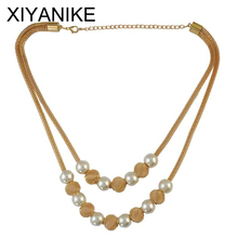 Buy 2016 Fashion Multi layers Chain Imitation Pearl Ball Pendants Necklaces Women Collares Chokers Statement Jewelry XY-N19 for $1.63 in AliExpress store