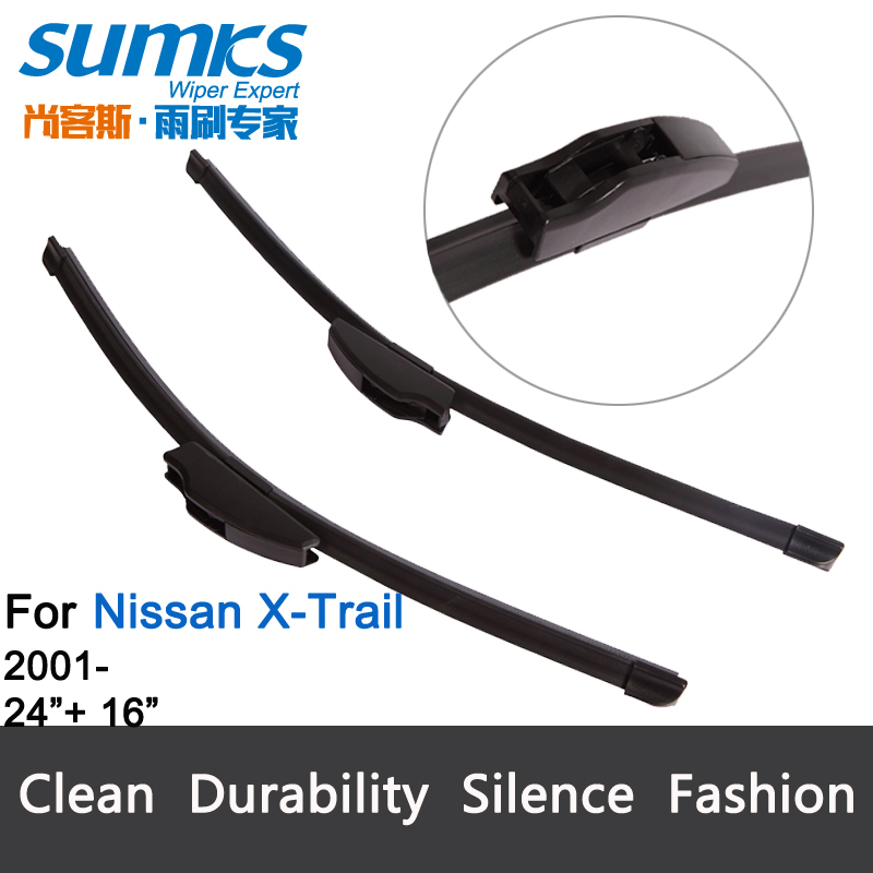 "Wiper blades for Nissan X-Trail (2001 onwards), 24""+16"", U-hook, bracketless, windscreen, Car accessory, freeshipping, HY-002(China (Mainland))"