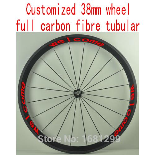 1pcs New 700C customized 38mm tubular rim road Track Fixed Gear bicycle aero 3K UD 12K full carbon fibre bike wheelset Free ship(China (Mainland))