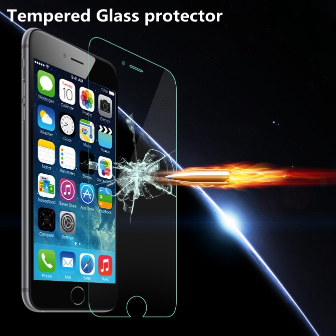 9H Ultrathin Clear Tempered Glass Screen Protector Case for Apple iphone 6 4.7 / Plus 5.5 Reinforced Front Film +Retail Box(China (Mainland))