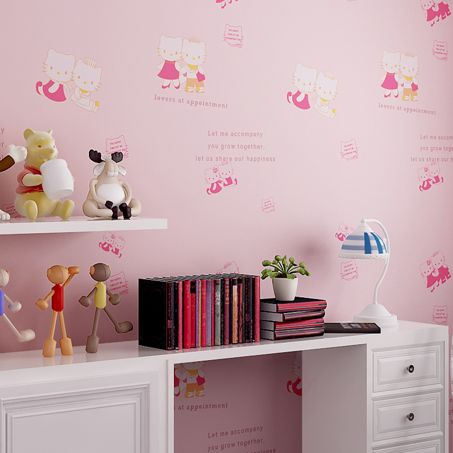 2016 New Arrival Cute Hello Kitty Wallpaper Kids Bedroom Decorative Wallpapers Baby Girls Boys Rooms Mural Wall Paper WZ007