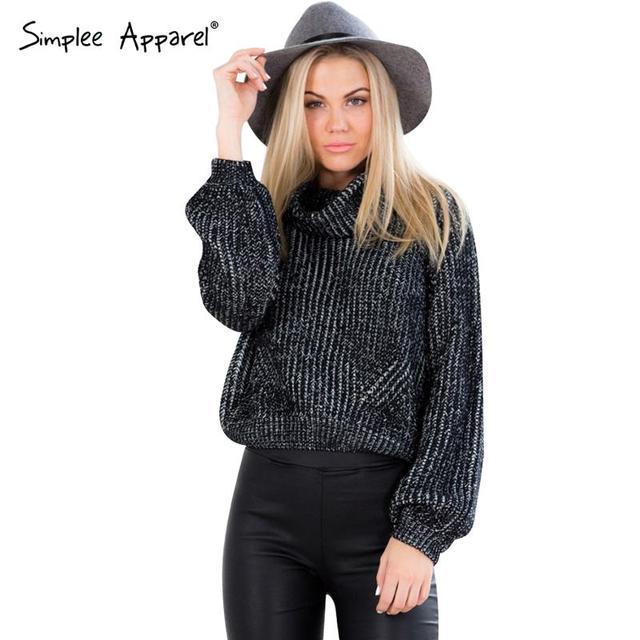 Simplee Одежды осень зима свитер короткий пуловер женщин Трикотажные белый шерсть ...
